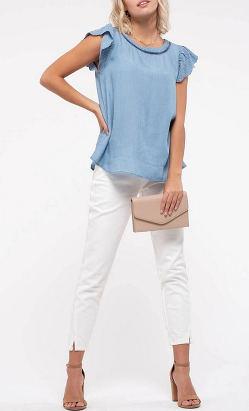 Cute cheap eylet embroidery chambray top