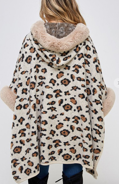 Cute cheap Faux Fur Hooded Coat with Animal Pattern.