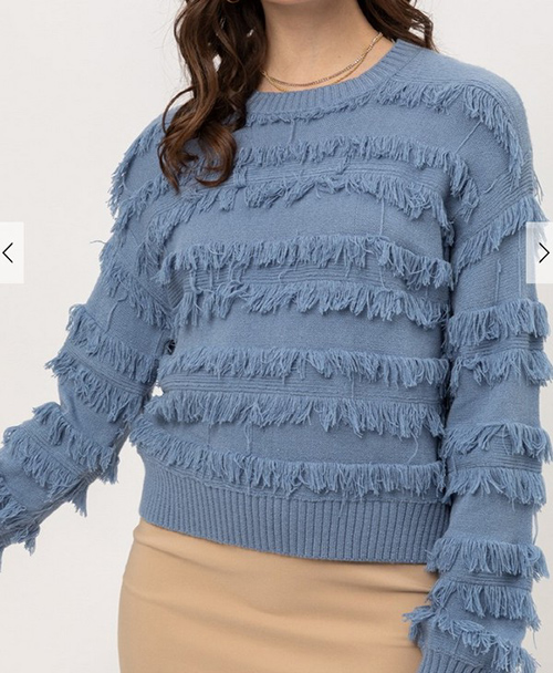 Cute cheap fine yarn fringe sweater top