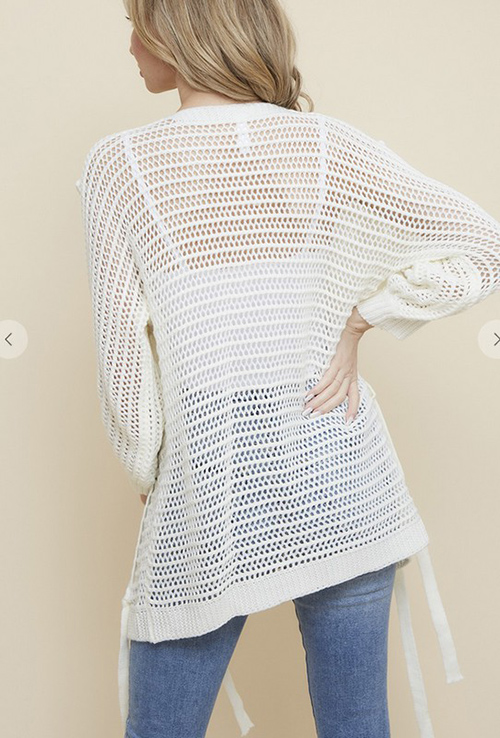 Cute cheap Fishnet Sweater Open Cardigan with Shoelace Trim