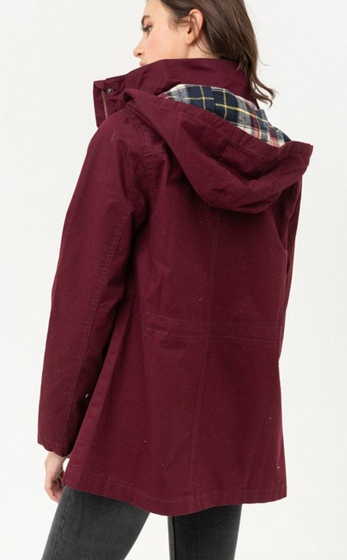 Cute cheap flannel plaid hoodie utility cotton anorak jacket