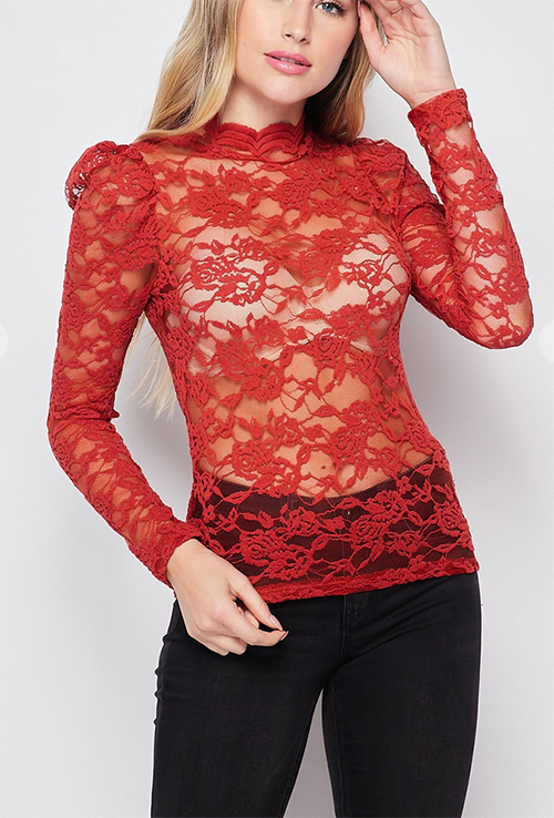 Cute cheap floral race ruches puff long sleeve top