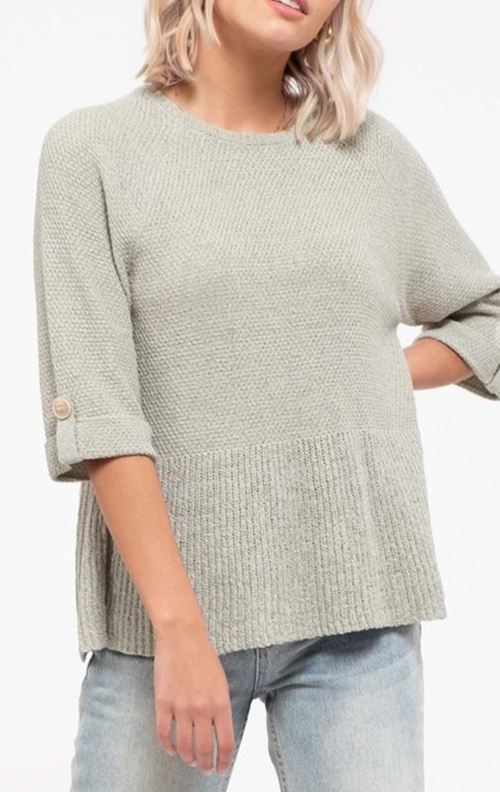 Cute cheap flounce bottom sweater solid top