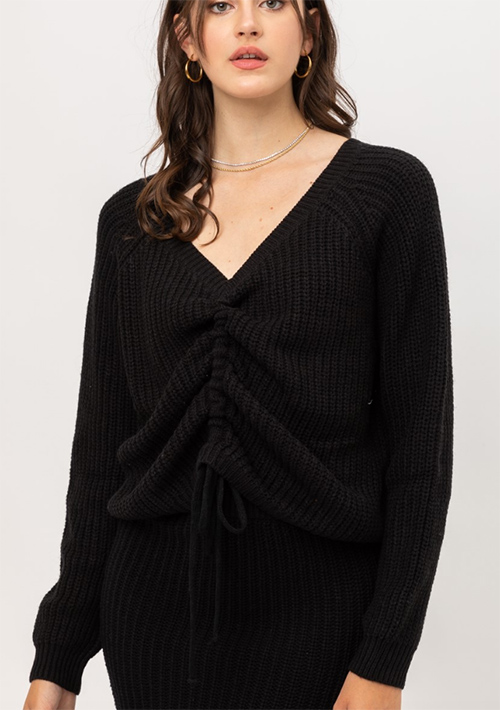 Cute cheap front tie long sleeve sweater