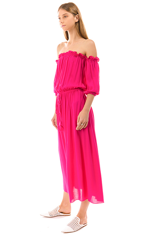 Cute cheap fuchsia pink off shoulder quarter sleeve waist tie boho maxi evening sun dress