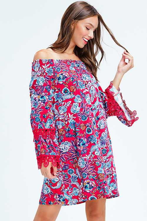 Cute cheap fuchsia red floral print off shoulder long bell sleeve crochet lace trim boho mini dress
