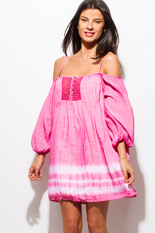 Cute cheap fucshia hot pink tie dye cold shoulder long bubble sleeve boho peasant mini dress