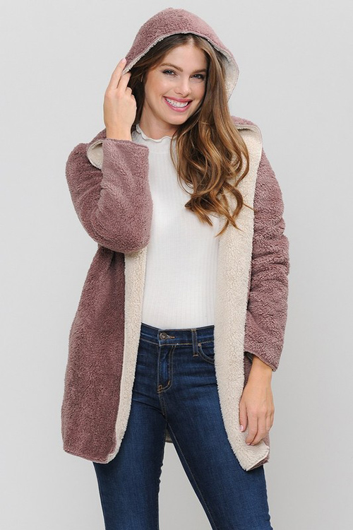Cute cheap fur hooded coat with side pocket