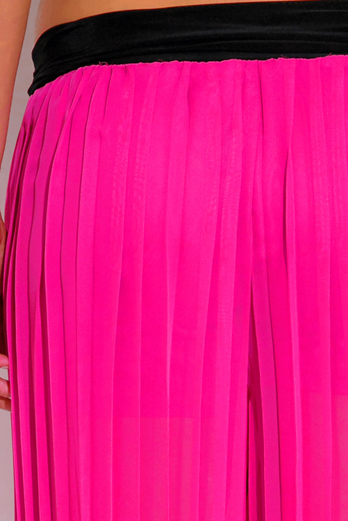 Cute cheap hot pink pleated chiffon wide leg palazzo pants