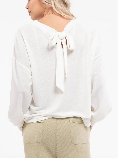 Cute cheap garden long sleeve top with back tie