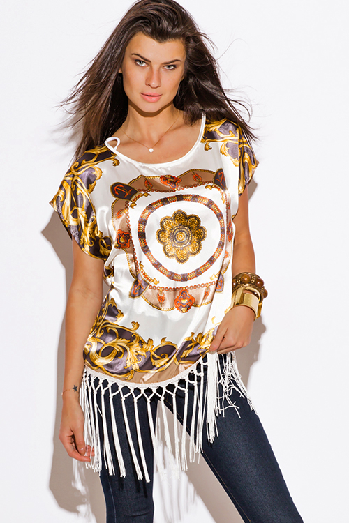 Cute cheap gold and ivory scarf print fringe trimmed silky boho kimono tunic top