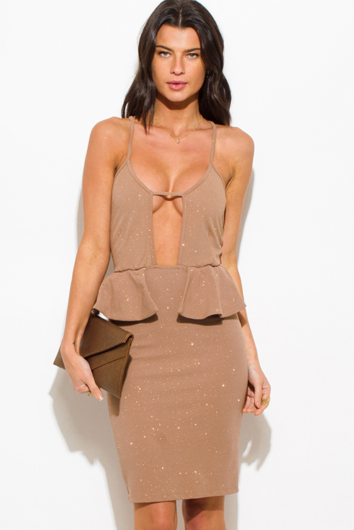 Cute cheap beige shimmer cut out sweetheart neck peplum pencil cocktail party metallic club midi dress