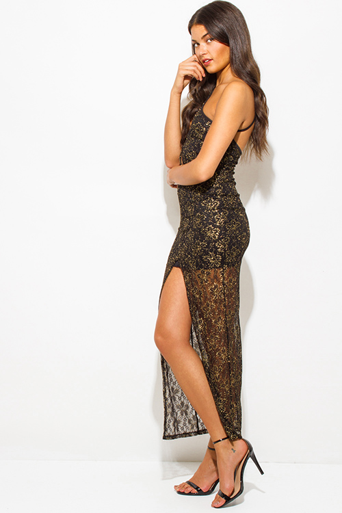 Cute cheap gold metallic black lace cut out one shoulder high slit formal evening cocktail party maxi dress