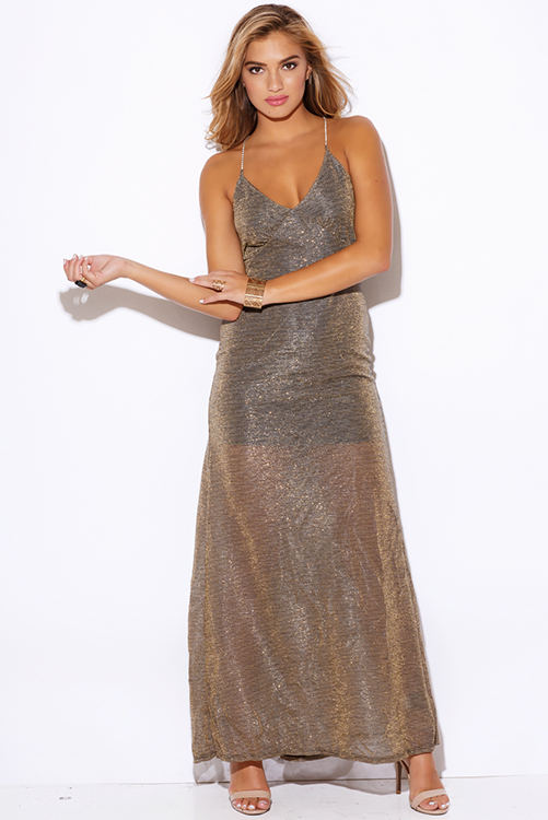 Cute cheap gold metallic mesh bejeweled backless formal evening cocktail party maxi dress