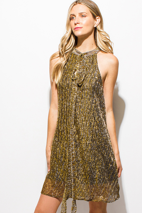 Cute cheap gold metallic pleated mock neck halter tie neck cocktail party swing mini dress