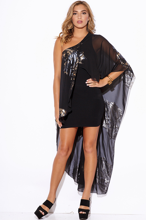 Cute cheap gold metallic print black chiffon cape one shoulder cocktail party club mini dress