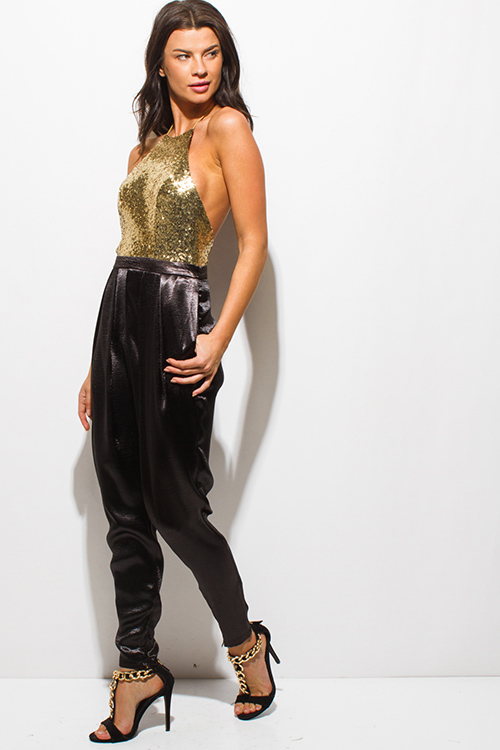 Cute cheap gold sequined halter backless satin pocketed evening party harem jumpsuit