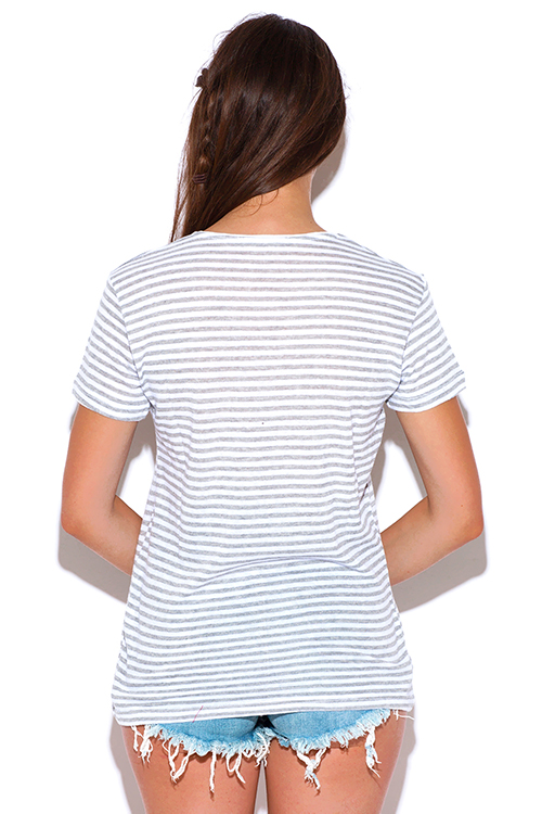 Cute cheap graphic print stripe short sleeve v neck tee shirt knit top