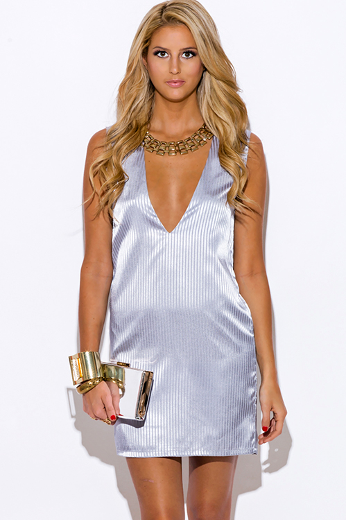 Cute cheap gray striped satin deep v neck backless cocktail party shift mini dress