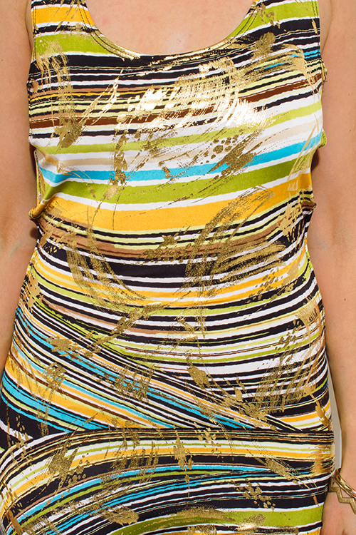 Cute cheap PLUS SIZE multicolor gold metallic print cut out caged back bodycon fitted club catsuit jumpsuit