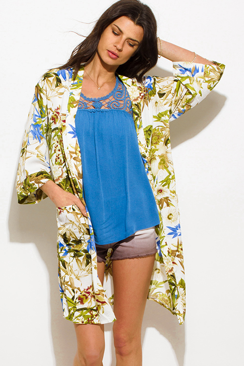 Cute cheap green multicolor tropical print pocketed boho kimono beach cover up jacket