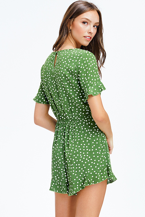 Cute cheap green polka dot print ruffle short sleeve v neck surplice boho romper playsuit jumpsuit
