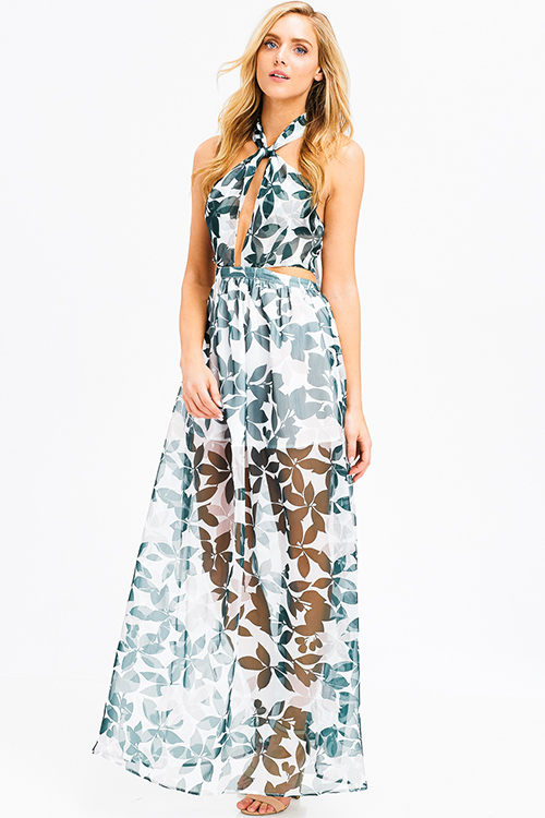 Cute cheap Green tropical leaf print sheer crinkle chiffon halter tie neck cut out backless evening gown maxi sun dress
