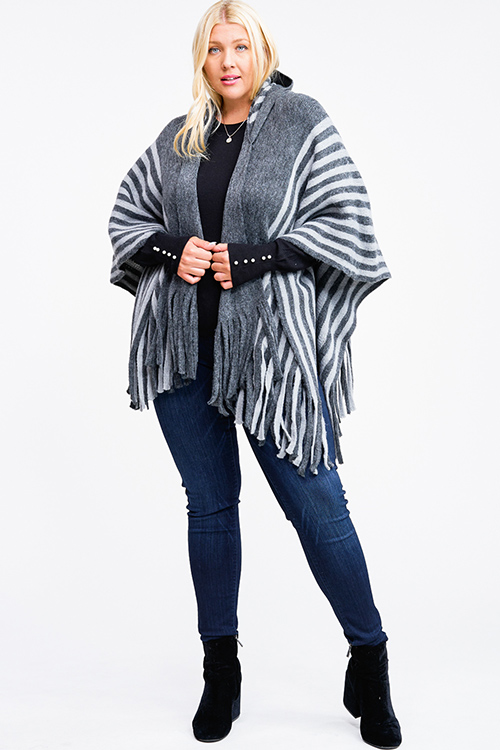 Cute cheap Grey striped hooded fringe trim boho fuzzy knit poncho sweater cardigan top