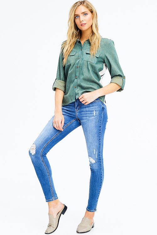 Cute cheap hammer blue washed denim mid rise distressed fitted skinny jeans