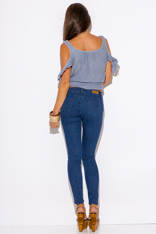Shop HART printed blue denim mid rise fitted skinny jeans