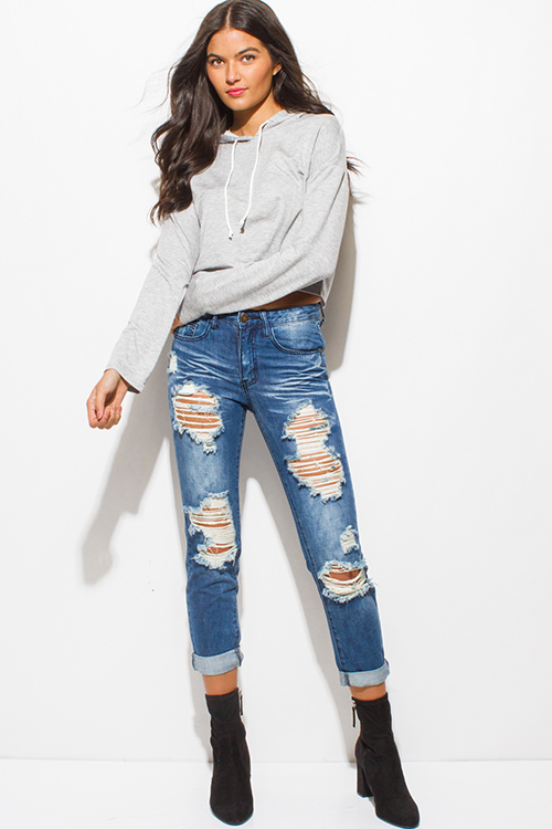 Cute cheap heather gray long sleeve hoodie crop sweatshirt top