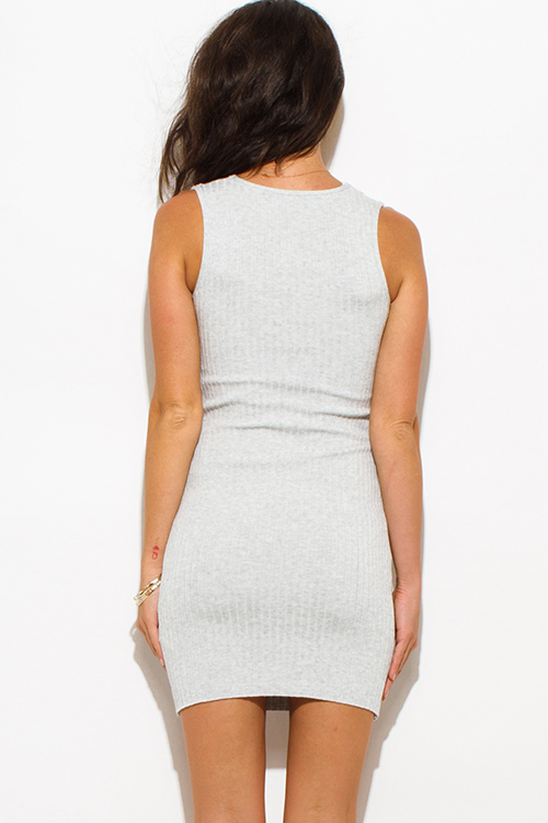 Cute cheap heather gray ribbed  knit laceup sleeveless fitted bodycon club sweater mini dress