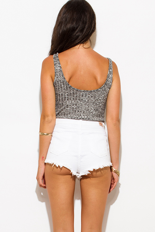 Cute cheap heather gray ribbed knit sleeveless laceup club bodysuit top