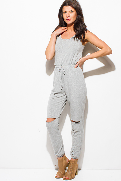 Cute cheap heather gray sleeveless knee cut out slit lounge harem jumpsuit