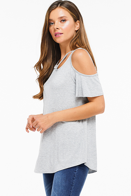 Cute cheap Heather grey cut out cold shoulder short sleeve tee shirt top