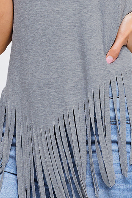 Cute cheap Heather grey jersey knit sleeveless fringe asymmetrical hem boho tank top