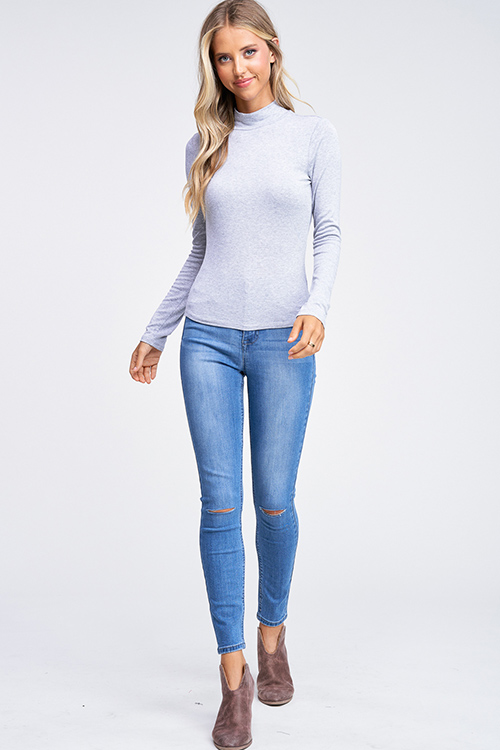 Cute cheap Heather grey long sleeve fitted mock neck basic knit top