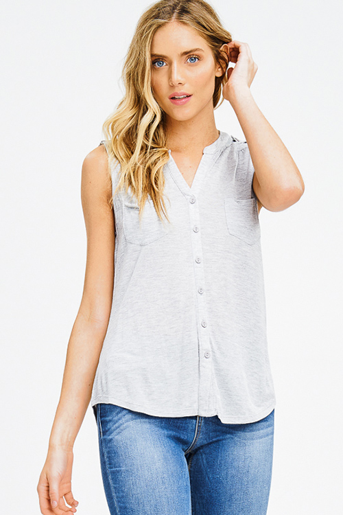 Cute cheap heather grey rayon jersey sleevess button up tee tank top