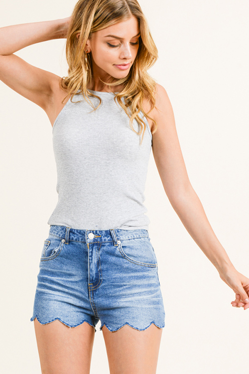 Cute cheap Heather grey ribbed halter racer back fitted cami tank top