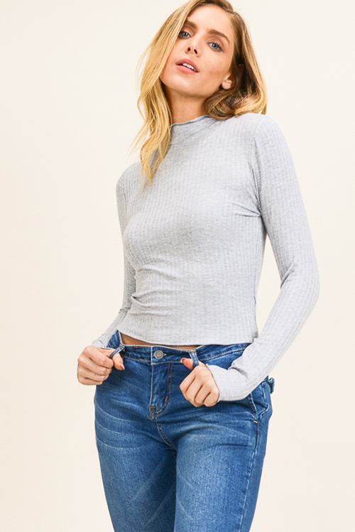 Cute cheap Heather grey ribbed knit lettuce hem long sleeve fitted mock neck basic top