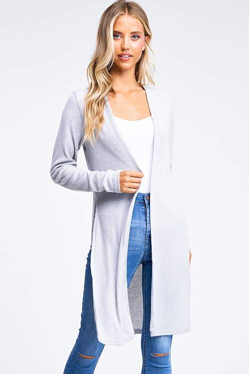 Cute cheap Heather grey ribbed knit long sleeve slit sides open front boho duster cardigan