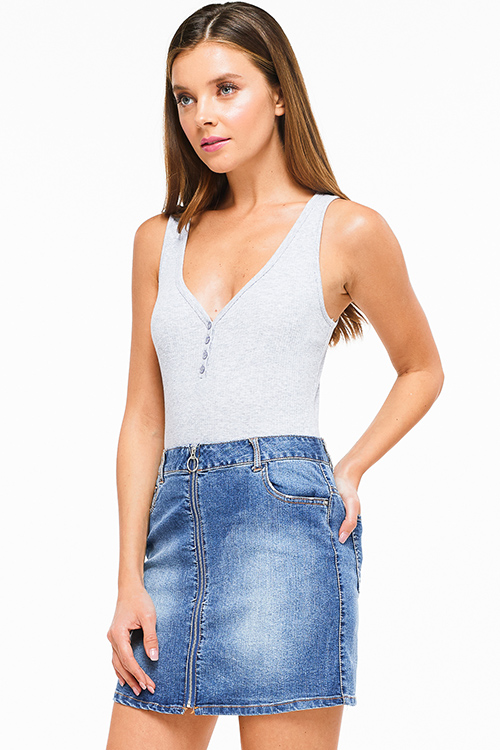 Cute cheap Heather grey ribbed v neck button up sleeveless bodysuit top