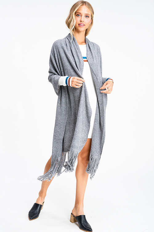Cute cheap Heather grey sweater knit fringe hem boho shawl scarf