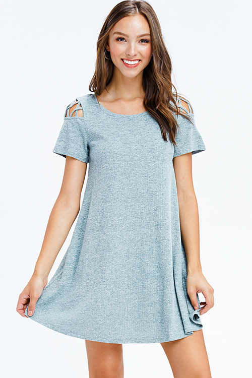 Cute cheap heather sage green ribbed knit cut out caged short sleeve swing tee shirt mini dress