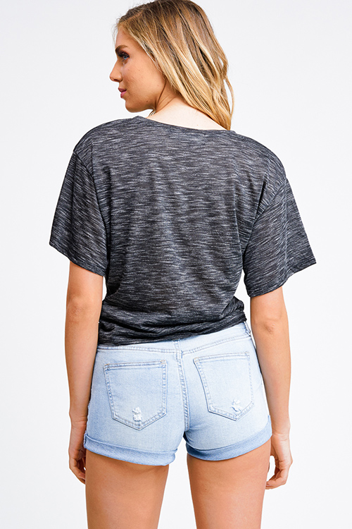 Cute cheap Heathered charcoal grey short sleeve pocket front twist knot front boho tee shirt top