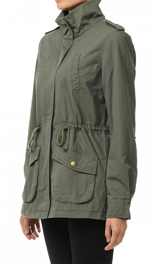 Cute cheap high neck anorak jacket in a washed cotton twill fabrication featuring roll-up