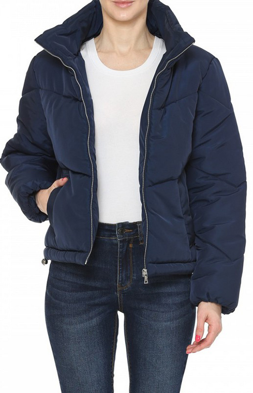 Cute cheap high neck chevron quilted matte puffer jacket