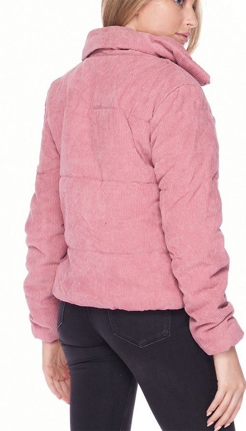 Cute cheap high neck quilted corduroy puffer jacket