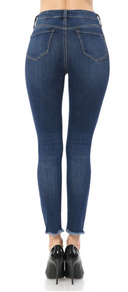 Cute cheap High-Rise Skinny Destructed Exposed Button Denim  5-Pocket design, five exposed button-fly closure.