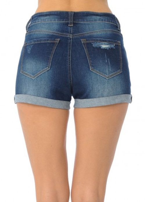Cute cheap high rise traditional 5-Pocket shorts Destruction, rolled cuffs,